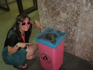 Utter delight in my sunglasses matching this rubbish bin