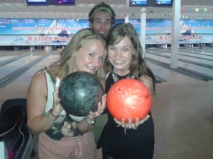 Tessa and I - Bowling Champs.